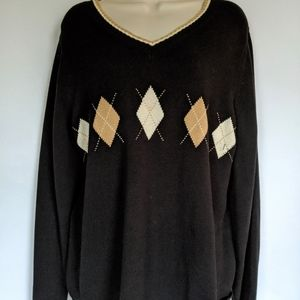 Rafaella v- neck argyle sweater